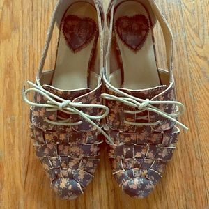 Leather Floral Woven Flats